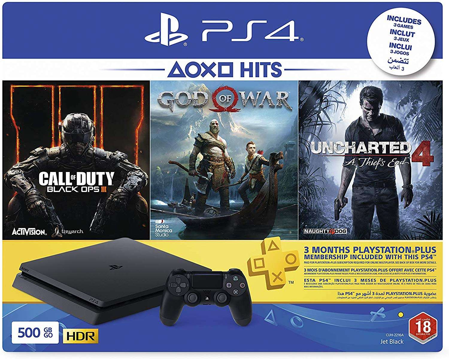 Sony PlayStation 4 Slim 500GB Console (Black) with 3 Month PSN Subscription and 3 Games (Call Of Duty: Black Ops 3, God Of War & Uncharted 4) Bundle