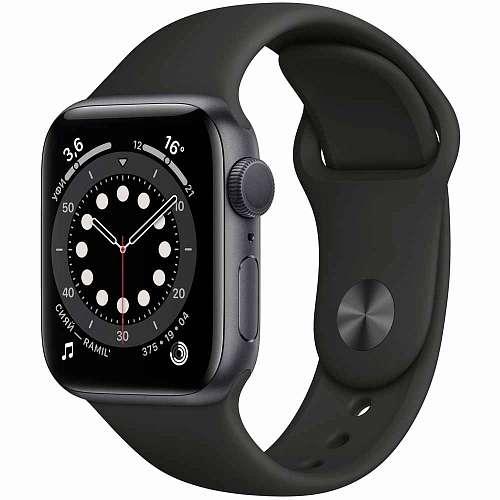 Apple Watch Series 6 GPS 44mm Space Gray Aluminum, Black Sport Band (M00H3)