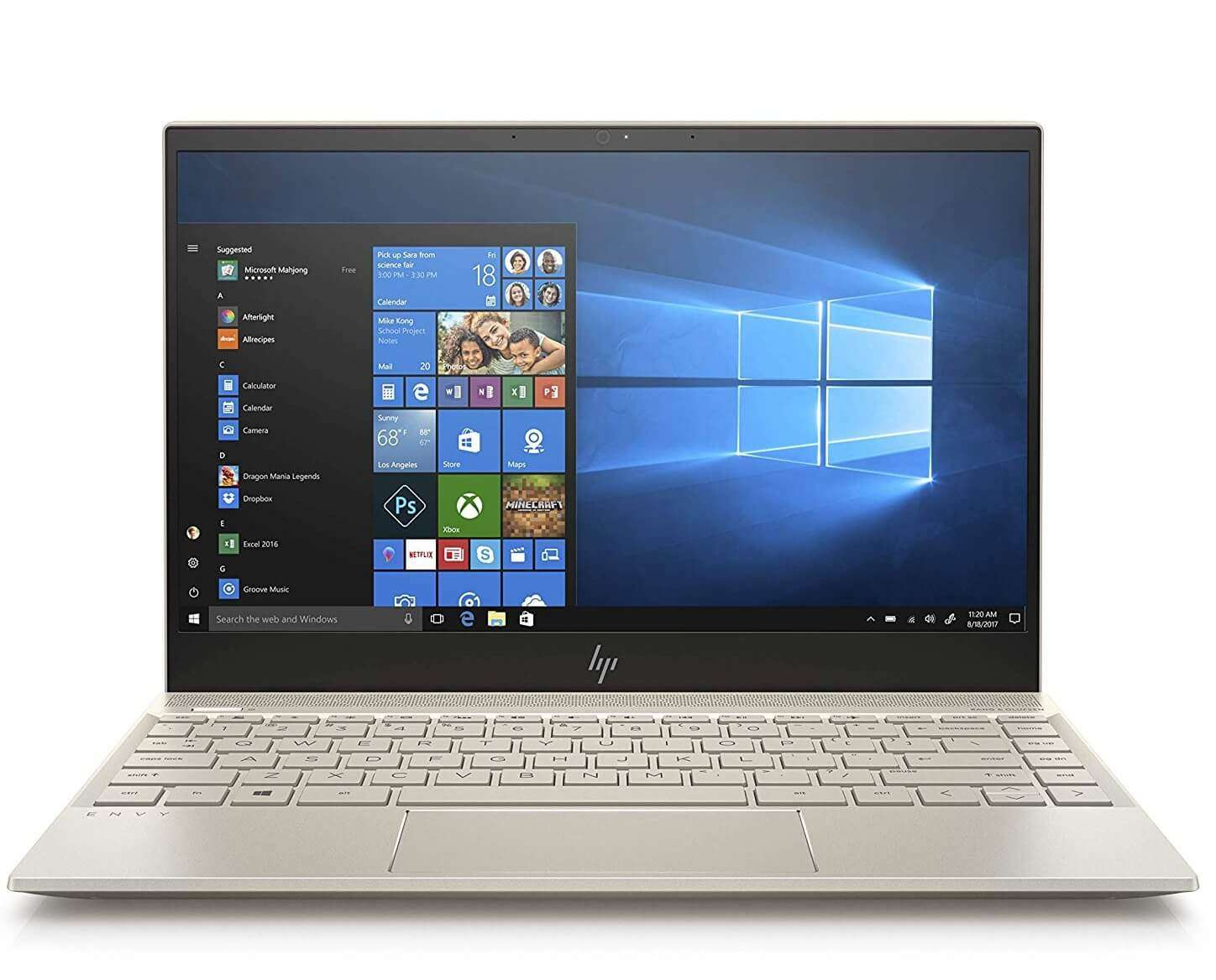 hp Envy 13-ah1003ne Notebook With 13.3-Inch Display, Core i7 Processor/8GB/1TB SDD/2GB NVIDIA GeForce MX150 Graphic Card With English/Arabic Keyboard Pale Gold