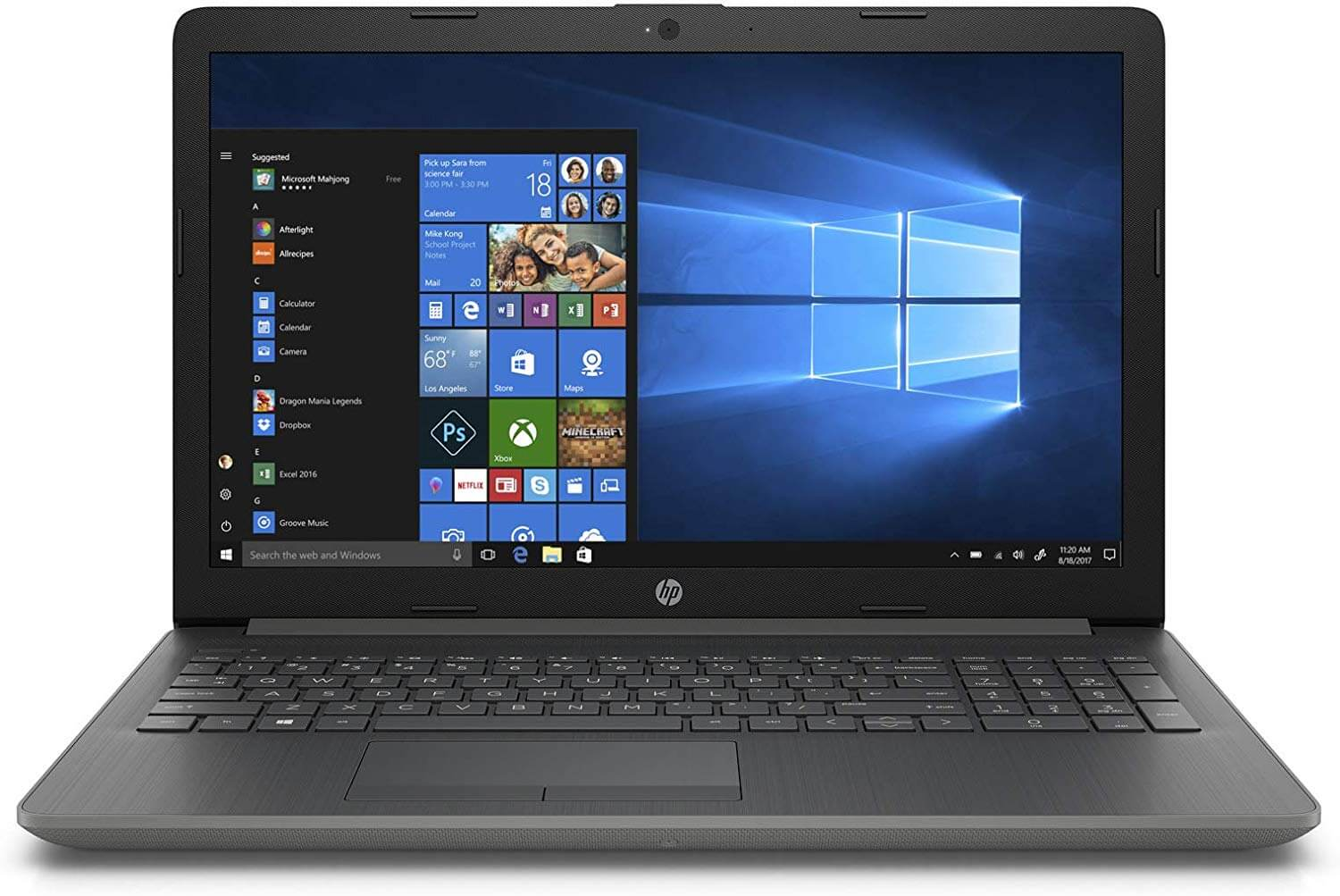 HP Pavilion 15-db0001ne Notebook Laptop With 15.6-Inch Display/AMD Processor/4GB RAM/1TB HDD/2GB AMD Radeon 520 Graphic Card With English/Arabic Keyboard Dark Ash Silver