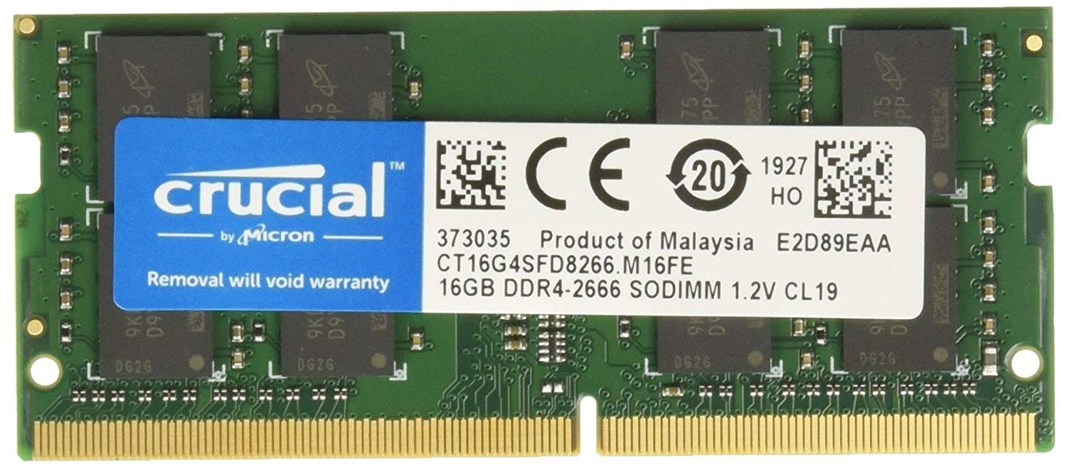 Crucial 16GB DDR4 SO-DIMM 2666MHz CL19 PC4-21300 1.2V - CT16G4SFD8266