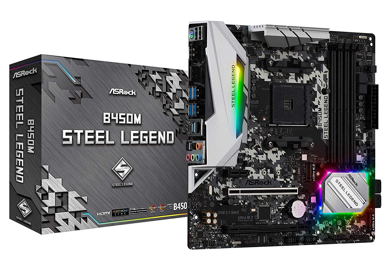 ASRock B450M Steel Legend Socket AM4/ AMD Promontory B450/ DDR4/ Quad CrossFireX/ SATA3&USB3.1/ M.2/ A&GbE/MicroATX Motherboard