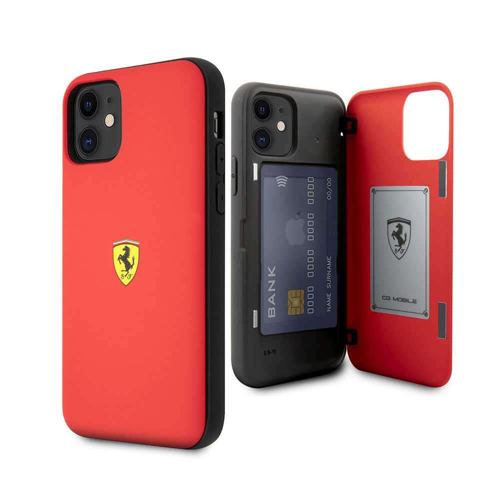 Ferrari On Track PC/TPU Case with Cardslot & Magnetic Clos for iPhone 11 - Red