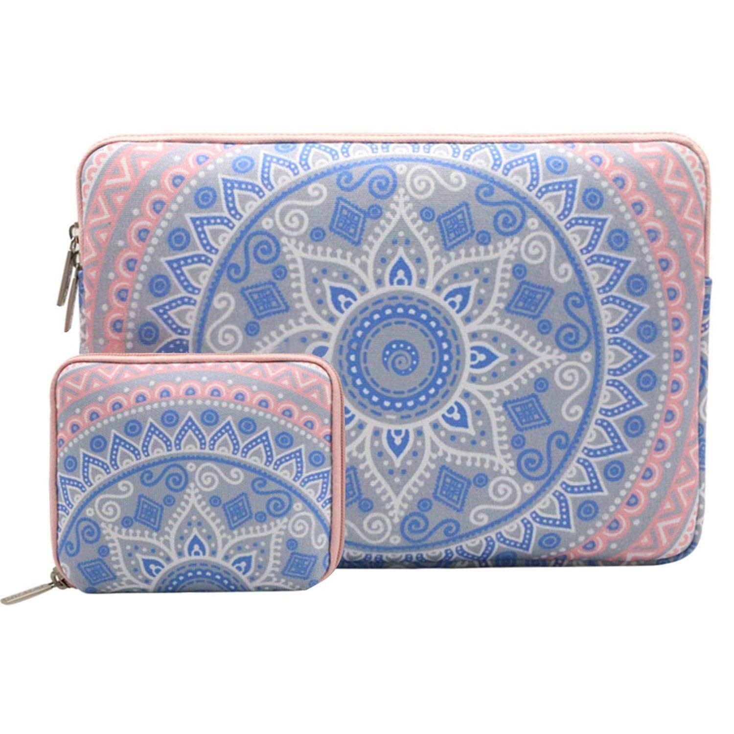 MOSISO Laptop Sleeve Bag Compatible 13-13.3 Inch MacBook Pro, MacBook Air, Notebook Computer with Small Case, Canvas Fabric Mandala Pattern Protective Cover, Blue and Pink